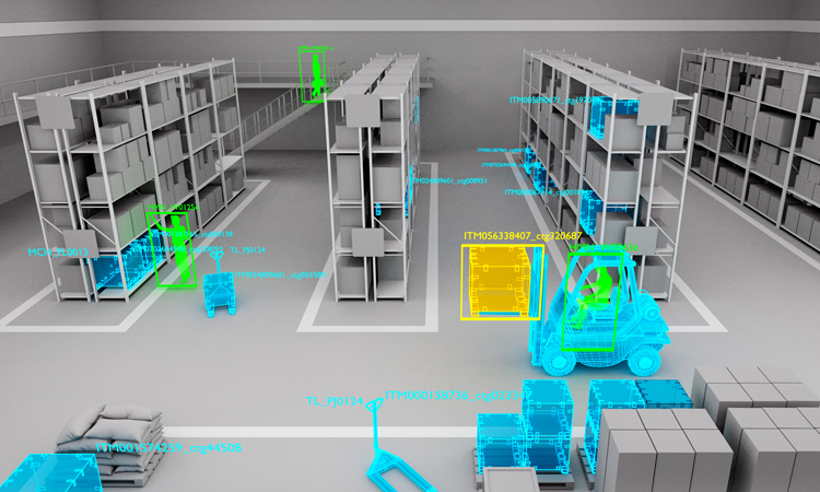 Simulation of object detection in a warehouse