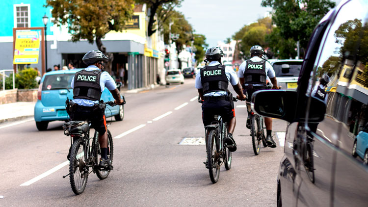 Police on bikes in the Caribbean